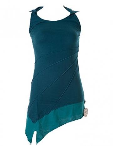 Vishes - Alternative Bekleidung - Asymetrischer Neckholder aus Baumwolle mit Zipfelkapuze - zweifarbig türkis 38 - 1