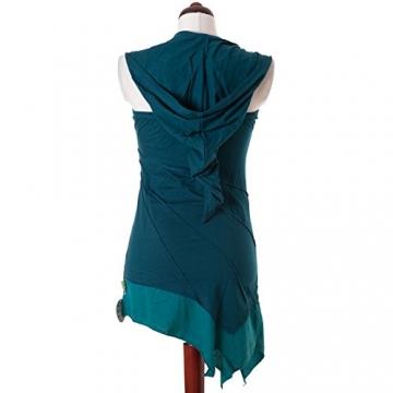 Vishes - Alternative Bekleidung - Asymetrischer Neckholder aus Baumwolle mit Zipfelkapuze - zweifarbig türkis 38 - 5