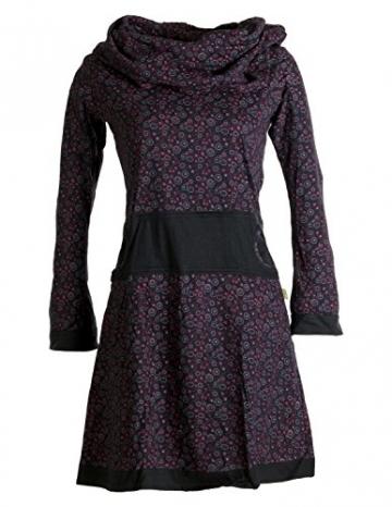 Vishes - Alternative Bekleidung - Bedrucktes Kleid aus Baumwolle mit Schalkragen schwarz-rot 38/40 - 1