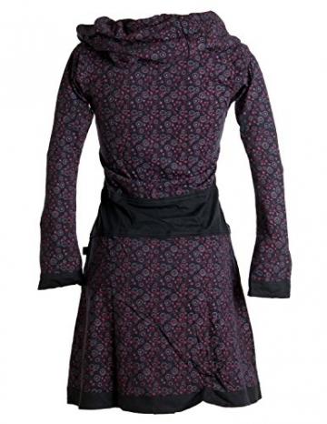 Vishes - Alternative Bekleidung - Bedrucktes Kleid aus Baumwolle mit Schalkragen schwarz-rot 38/40 - 2