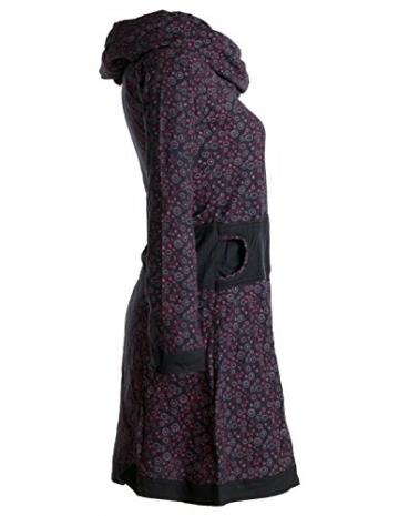 Vishes - Alternative Bekleidung - Bedrucktes Kleid aus Baumwolle mit Schalkragen schwarz-rot 38/40 - 3