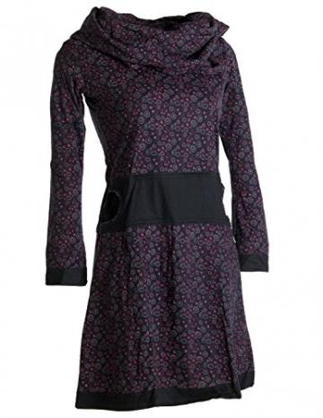 Vishes - Alternative Bekleidung - Bedrucktes Kleid aus Baumwolle mit Schalkragen schwarz-rot 38/40 - 4