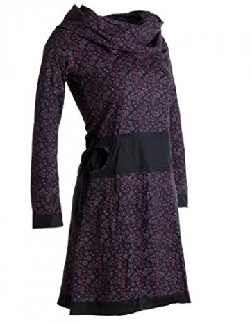 Vishes - Alternative Bekleidung - Bedrucktes Kleid aus Baumwolle mit Schalkragen schwarz-rot 38/40 - 5