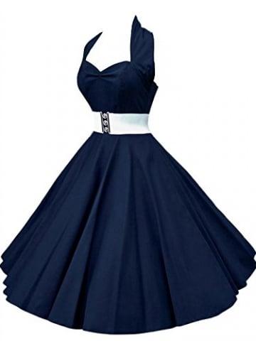 VKStar®Retro Chic ärmellos 1950er Audrey Hepburn Kleid / Cocktailkleid Rockabilly Swing Kleid Marineblau L -