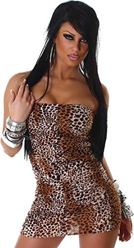 Voyelles Bandeau-Kleid Minikleid Leopard Stretch Cocktail Club Etui Schlauch Raffung, Braun 30/32/34 (SM) - 2