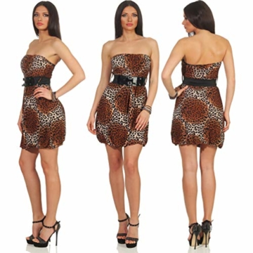 Voyelles Damen Bandeau Kleid Leopard Stretch Cocktail Gürtel Raffung Stretch Etui Mini kurz, Braun 36 38 40 - 2