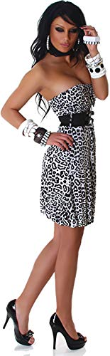 Voyelles Damen Bandeau Kleid Leopard Stretch Cocktail Gürtel Raffung Stretch Etui Mini kurz, Weiß 36 38 40 - 6