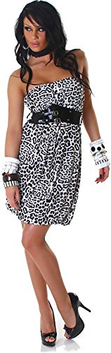 Voyelles Damen Bandeau Kleid Leopard Stretch Cocktail Gürtel Raffung Stretch Etui Mini kurz, Weiß 36 38 40 - 7