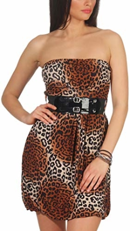 Voyelles Damen Bandeau Kleid Leopard Stretch Cocktail Gürtel Raffung Stretch Etui Mini kurz, Braun 36 38 40 - 1