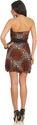 Voyelles Damen Bandeau Kleid Leopard Stretch Cocktail Gürtel Raffung Stretch Etui Mini kurz, Braun 36 38 40 - 5