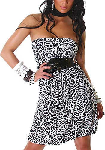 Voyelles Damen Bandeau Kleid Leopard Stretch Cocktail Gürtel Raffung Stretch Etui Mini kurz, Weiß 36 38 40 - 1