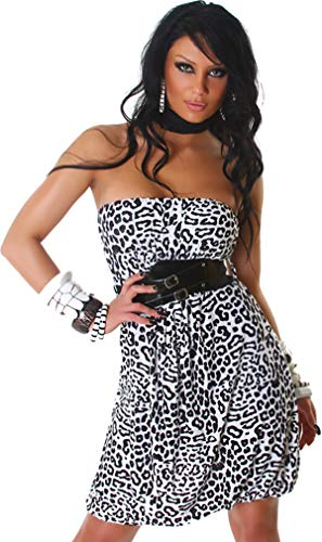 Voyelles Damen Bandeau Kleid Leopard Stretch Cocktail Gürtel Raffung Stretch Etui Mini kurz, Weiß 36 38 40 - 3