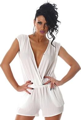 Voyelles Damen Overall Anzug Hausanzug Jumpsuit Bodysuit Einteiler Kurz Hosenkleid Hosenanzug Weiß 38/40 - 1