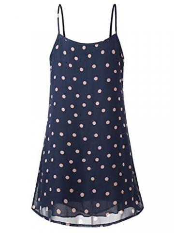 WAJAT Damen Spaghetti Chiffonkleid Blumen Sommer Minikleid Strand A-Linie Blau Dots S -
