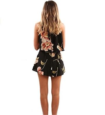 Walant Damen Ärmellos Hälftehals 2 Teile Blumendruck Mini Playsuit Jumpsuit (XL, Schwarz) - 3