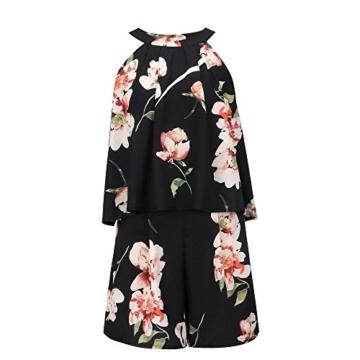 Walant Damen Ärmellos Hälftehals 2 Teile Blumendruck Mini Playsuit Jumpsuit (XL, Schwarz) - 4