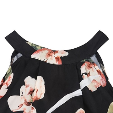 Walant Damen Ärmellos Hälftehals 2 Teile Blumendruck Mini Playsuit Jumpsuit (XL, Schwarz) - 5