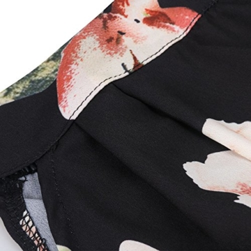 Walant Damen Ärmellos Hälftehals 2 Teile Blumendruck Mini Playsuit Jumpsuit (XL, Schwarz) - 6