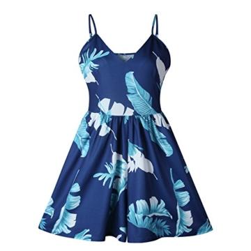 Walant Damen Blumen Träger Stückhosen V-Ausschnitt Jumpsuit Playsuits Overall Romper- L, Blau - 2