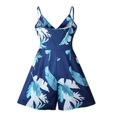 Walant Damen Blumen Träger Stückhosen V-Ausschnitt Jumpsuit Playsuits Overall Romper- L, Blau - 3