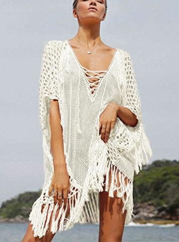 Walant Damen Sommer Gestrickt Strand Bademode Bikini Cover Up Crochet Kurze Kleider Tops Bluse Sweatshirt mit Quasten - 2