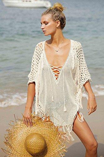 Walant Damen Sommer Gestrickt Strand Bademode Bikini Cover Up Crochet Kurze Kleider Tops Bluse Sweatshirt mit Quasten - 3