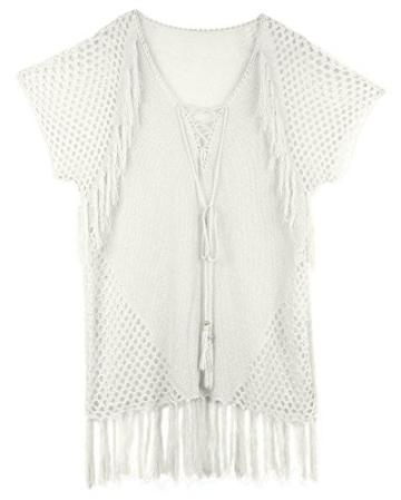 Walant Damen Sommer Gestrickt Strand Bademode Bikini Cover Up Crochet Kurze Kleider Tops Bluse Sweatshirt mit Quasten - 4