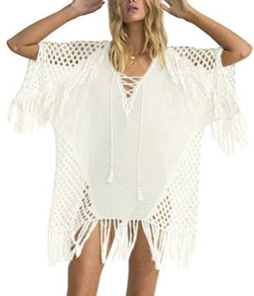 Walant Damen Sommer Gestrickt Strand Bademode Bikini Cover Up Crochet Kurze Kleider Tops Bluse Sweatshirt mit Quasten - 1