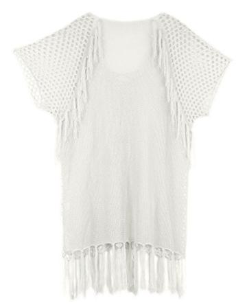 Walant Damen Sommer Gestrickt Strand Bademode Bikini Cover Up Crochet Kurze Kleider Tops Bluse Sweatshirt mit Quasten - 5