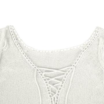 Walant Damen Sommer Gestrickt Strand Bademode Bikini Cover Up Crochet Kurze Kleider Tops Bluse Sweatshirt mit Quasten - 6