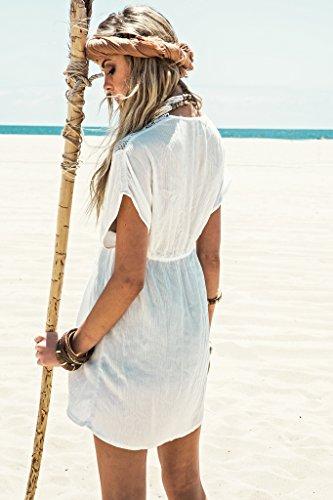 Walant Damen Spitze Bauwolle Strandkleid Chiffon Sommerkleider Bikini Cover Up Elegant - 2
