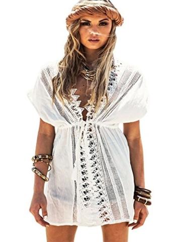 Walant Damen Spitze Bauwolle Strandkleid Chiffon Sommerkleider Bikini Cover Up Elegant - 1