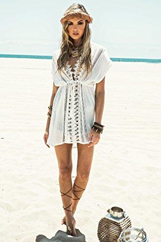 Walant Damen Spitze Bauwolle Strandkleid Chiffon Sommerkleider Bikini Cover Up Elegant - 5