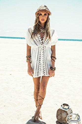 Walant Damen Spitze Bauwolle Strandkleid Chiffon Sommerkleider Bikini Cover Up Elegant - 6