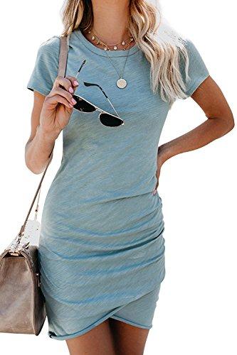 Walant Etuikleider Bleistftkleid Sommerkleid Damen Kurzarm Abendkleid Rundhals Ausschnitt Elegant Minikleider Business Kleider Retro Festlich Hochzeit - 1