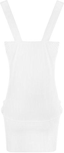 WearAll - Damen Lange Elastisch Wasserfall Top Kleid - Weiß - 48-50 - 2