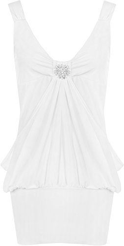 WearAll - Damen Lange Elastisch Wasserfall Top Kleid - Weiß - 48-50 - 1