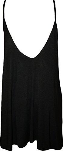 WearAll - Übergröße Damen Träger Ärmellos Swing Mini-Kleid Top - Schwarz - 44-46 - 2