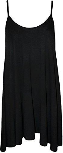 WearAll - Übergröße Damen Träger Ärmellos Swing Mini-Kleid Top - Schwarz - 44-46 - 1