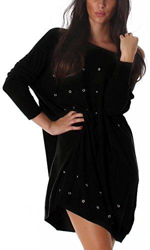 Wellness Feinstrick-Pullover mit silbernen Lochnieten, Black - 3
