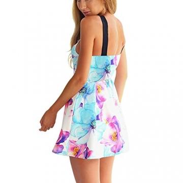 West See, Damen Sexy Ärmellos Minikleid Strandkleid mit floralem Print (M) - 2