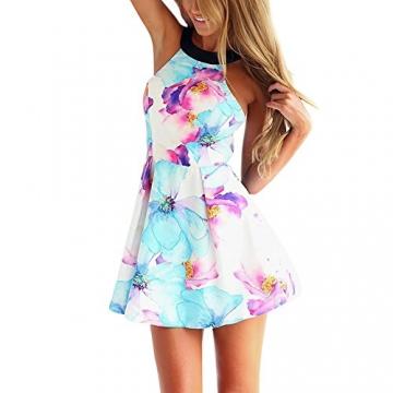 West See, Damen Sexy Ärmellos Minikleid Strandkleid mit floralem Print (M) - 1
