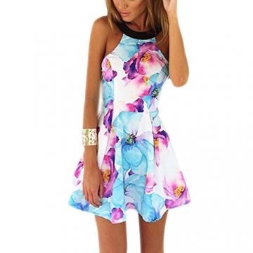 West See, Damen Sexy Ärmellos Minikleid Strandkleid mit floralem Print (L) -