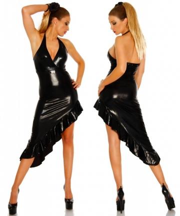 Wet-Look Kleid schwarz