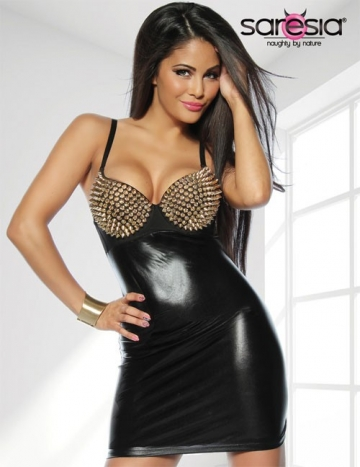 Wetlook-Kleid mit Spike-BH