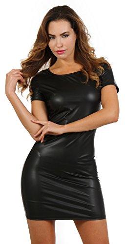 Wetlook Minikleid Partykleid Clubwear Lederlook Damen kleid mit Kurzarm und Zweiwege-Reißverschluss hinten (L/XL) - 1