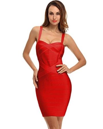 Whoinshop Damen Rayon Bodycon Kleider Minikleid Partykleid Cocktailkleid Festliches Kleid mit Nettes Ärmellos (XS, Rot-2) - 2