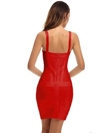 Whoinshop Damen Rayon Bodycon Kleider Minikleid Partykleid Cocktailkleid Festliches Kleid mit Nettes Ärmellos (XS, Rot-2) - 4