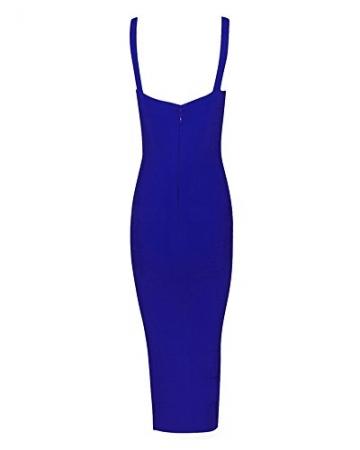 Whoinshop Damen Rayon Strap Mittelkurz AbendKleid PartyKleid VerbandKeid (XL, Blau) -