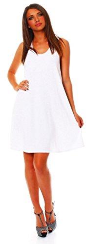 Wil Mississhop Damen Sommer Kleid Minikleid Top Tunika Shirt Weiß S - 2